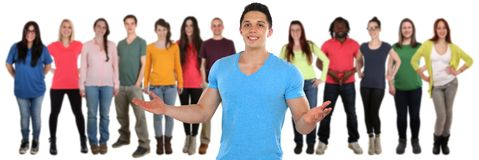 Freundgruppe Social Media der jungen Leute lokalisiert auf Weiß stockfotos