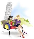 Freundin, die auf der Bank in Italien sitzt Stockbild