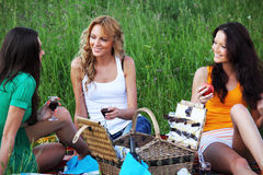 Freundinnen auf Picknick Lizenzfreie Stockfotos