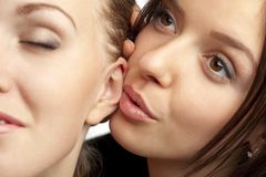 Freundinnen, die ihre Geheimnisse teilen Lizenzfreie Stockfotografie