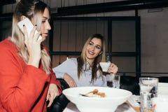 Freundinnen, die zu Mittag essen Stockfotografie