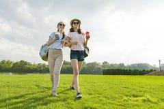 Freundinnen gehen in den Park in der Natur Mädchen gehen entlang den grünen Rasen, sprechen, haben Spaß lizenzfreie stockfotografie