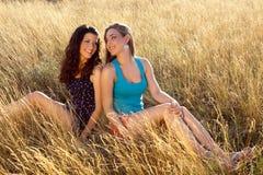 Freundlich auf einem Sommergebiet Lizenzfreies Stockfoto