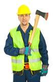 Freundliche Arbeiterholdingaxt Stockbilder