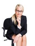 Freundliche blonde Geschäftsfrau. Stockbild