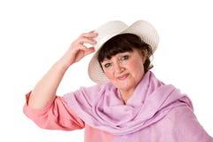 Freundliche fällige Frau stockfoto