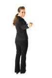 Freundliche Geschäftsfrau, die Finger auf Sie zeigt Stockfotos