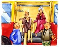 Freundliche Jungen auf Bushaltestelle Stockfotos
