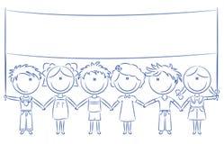Freundliche Kinder, die leere Fahne anhalten lizenzfreie abbildung