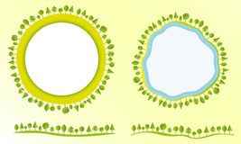 Freundliche Kugel Eco mit Bäumen beschriftet Gestaltungselemente moderne flache Artgeschäft Vektorillustration Lizenzfreie Stockbilder