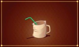 Freundliche Tasse Tee mit grünem Stroh auf braunem Hintergrund mit Co Stock Abbildung