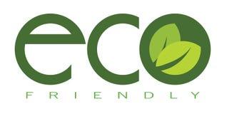 Freundlicher Aufkleber Eco, Aufkleber mit grünen Blättern Stockbilder
