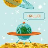 Freundlicher Ausländer im Raumschiff Stockbilder