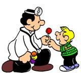Freundlicher Doktor überprüfen Jungenkarikatur Lizenzfreies Stockfoto