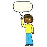 freundlicher Junge der Karikatur, der mit Spracheblase wellenartig bewegt Lizenzfreies Stockbild