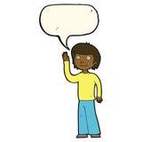 freundlicher Junge der Karikatur, der mit Spracheblase wellenartig bewegt Stockbilder