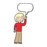 freundlicher Junge der Karikatur, der mit Spracheblase wellenartig bewegt Lizenzfreie Stockfotos