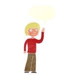 freundlicher Junge der Karikatur, der mit Spracheblase wellenartig bewegt Lizenzfreies Stockfoto