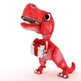 Freundlicher Karikatur-Dinosaurier mit Geschenkbox Lizenzfreies Stockfoto