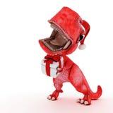 Freundlicher Karikatur-Dinosaurier mit Geschenkweihnachtskasten Lizenzfreie Stockbilder