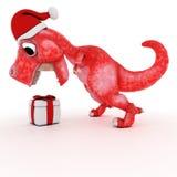 Freundlicher Karikatur-Dinosaurier mit Geschenkweihnachtskasten Lizenzfreie Stockfotografie