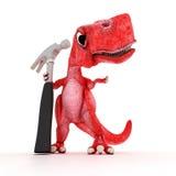 Freundlicher Karikatur-Dinosaurier mit Hammer Stockbilder