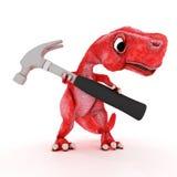 Freundlicher Karikatur-Dinosaurier mit Hammer Lizenzfreie Stockfotografie