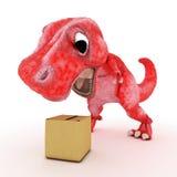 Freundlicher Karikatur-Dinosaurier mit Pappschachtel Lizenzfreie Stockfotografie