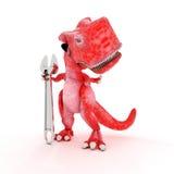 Freundlicher Karikatur-Dinosaurier mit Schlüssel Stockfoto