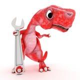 Freundlicher Karikatur-Dinosaurier mit Schlüssel Stockfotografie