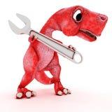 Freundlicher Karikatur-Dinosaurier mit Schlüssel Stockbilder