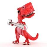 Freundlicher Karikatur-Dinosaurier mit Schlüssel Lizenzfreies Stockbild