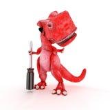 Freundlicher Karikatur-Dinosaurier mit Schraubenzieher Stockfotografie