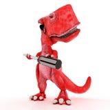 Freundlicher Karikatur-Dinosaurier mit Schraubenzieher Stockfoto