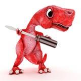 Freundlicher Karikatur-Dinosaurier mit Schraubenzieher Stockfotos