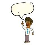 freundlicher Mann der Karikatur mit Idee mit Spracheblase Lizenzfreies Stockfoto