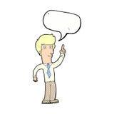 freundlicher Mann der Karikatur mit Idee mit Spracheblase Lizenzfreie Stockfotografie