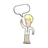 freundlicher Mann der Karikatur mit Idee mit Spracheblase Stockbilder