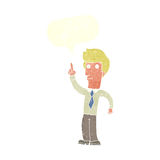 freundlicher Mann der Karikatur mit Idee mit Spracheblase Lizenzfreies Stockbild