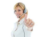 Freundlicher schöner blonder Telemarketer Lizenzfreies Stockfoto