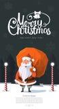 Freundlicher schauender modischer Vektor Weihnachtsmann im Holz Lizenzfreie Stockbilder