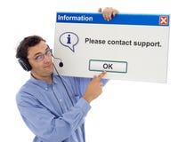 Freundlicher Support mit Meldung Stockfotos