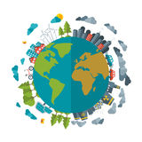 Freundliches Eco, grünes Energiekonzept, vector Ebene Stockfoto