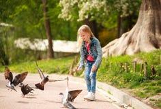 Freundliches frohes M?dchenkind zieht Tauben im Stadtsommerpark ein stockbild