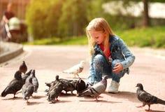Freundliches frohes M?dchenkind zieht Tauben im Stadtsommerpark ein stockfotos