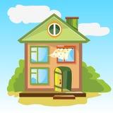 Freundliches Haus mit einer offenen Tür lizenzfreie abbildung