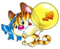 Freundliches Kätzchen mit einer Kugel und einem Bogen. Lizenzfreie Stockfotos