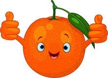 Freundliches Karikatur-Orangenzeichen Stockfoto