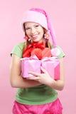 Freundliches Mädchen mit Geschenken Stockbilder