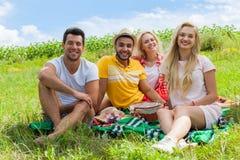 Freundpicknickleute gruppieren sitzendes umfassendes grünes Gras im Freien Stockfotografie